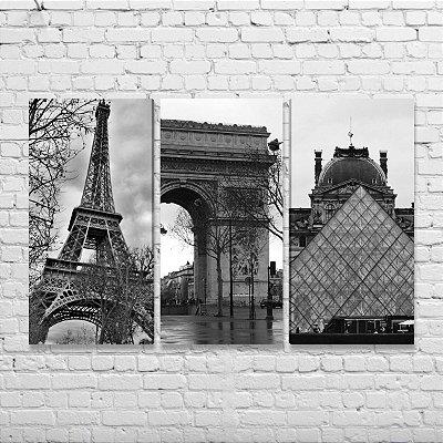 Quadros Detalhes Cidade Paris - Kit 3 Quadros