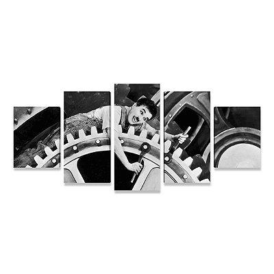 Quadro Charlie Chaplin Tempos Modernos em 5 peças