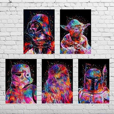 Kit de Quadros - Star Wars Personagens - 5 Quadros