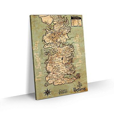 Quadro Game of Thrones Mapa Westeros 7 Reinos