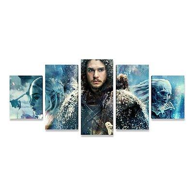 Quadro Game of Thrones Jon Snow Daenerys Mosaico 5 Telas