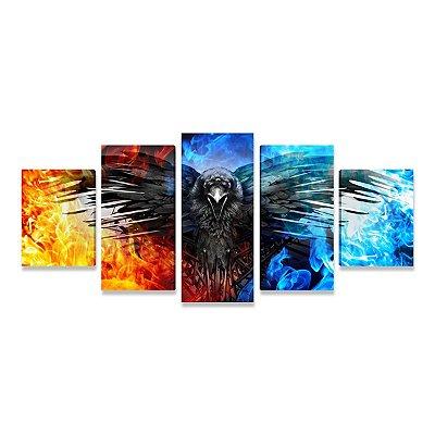 Quadro Game of Thrones Corvo de 3 Olhos Mosaico 5 Telas