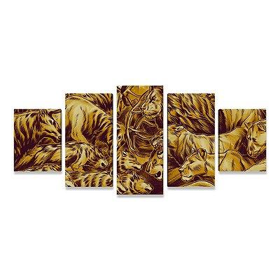 Quadro Game of Thrones Batalha Leão Lobos Tigres Cervos Mosaico 5 peças