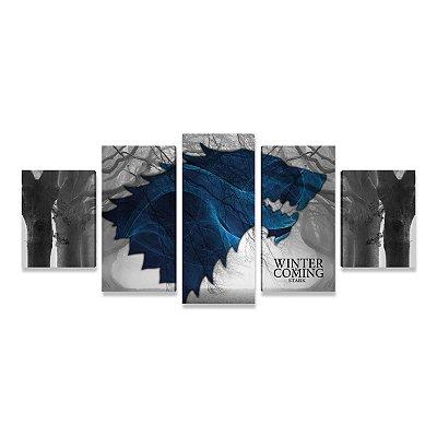 Quadro Game of Thrones Lobo Stark Mosaico 5 peças