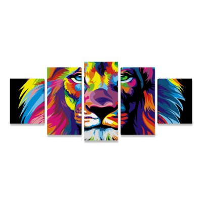 Quadro Leão Colorido Moderno Decorativo Mosaico 5 Telas