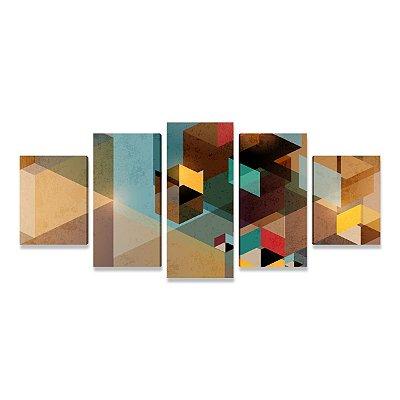 Quadro Decorativo Abstrato Geométrico Mosaico em 5 Telas