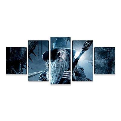 Quadro Gandalf Hobbit Senhor dos Anéis Mosaico 5 Telas