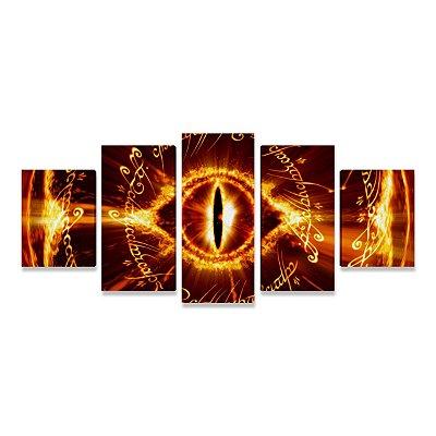 Quadro O Senhor dos Anéis Olho de Sauron Mosaico 5 Telas