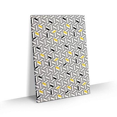 Quadro Abstrato Geométrico Detalhes em Amarelo Sala Quarto Escritório