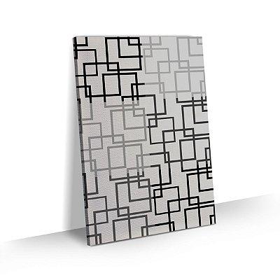 Quadro Abstrato Geométrico Quadrados Preto e Branco Sala Quarto Escritório