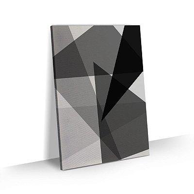 Quadro Abstrato Geométrico Triângulos Preto e Branco Sala Quarto Escritório