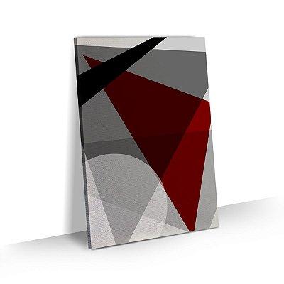 Quadro Abstrato Geométrico Triângulos Detalhe Bordô Sala Quarto Escritório