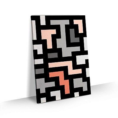 Quadro Abstrato Geométrico Detalhe Rosê Sala Quarto Escritório