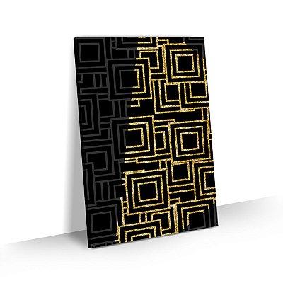 Quadro Abstrato Geométrico Detalhe Dourado Sala Quarto Escritório