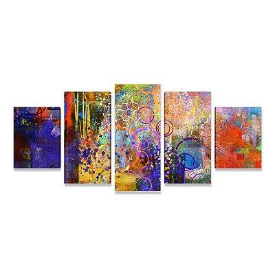 Quadro Decorativo Abstrato Viva a Vida Sala Quarto Mosaico 5 Telas