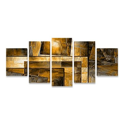 Quadro Decorativo Abstrato O Luxo Dourado Sala Quarto Mosaico 5 Telas