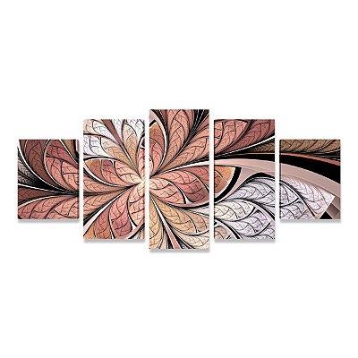 Quadro Decorativo Abstrato Vitral Rosê Sala Quarto Mosaico 5 Telas