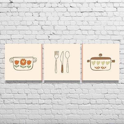 Kit de Quadros Para Cozinha Área Gourmet Amor Utensílios