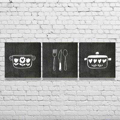 Kit de Quadros Para Cozinha Área Gourmet Amor Utensílios Preto