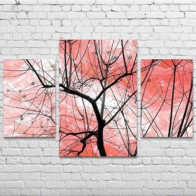 Quadro Decorativo Árvore Rosê 3 Telas Para Sala Quarto Escritório