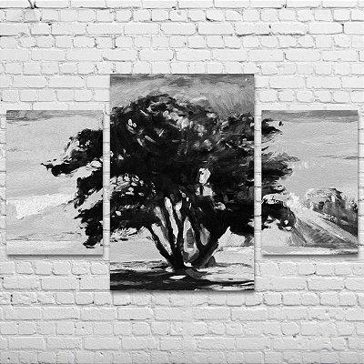Quadro Decorativo Árvore Preto e Branco 3 Telas Para Sala Quarto Escritório