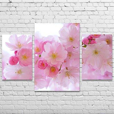 Quadro Decorativo Flores Delicadas 3 Telas Para Sala Quarto Escritório