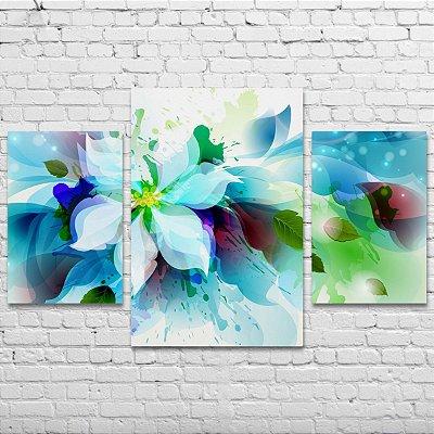 Quadro Decorativo Flores 3 Telas Para Sala Quarto Escritório