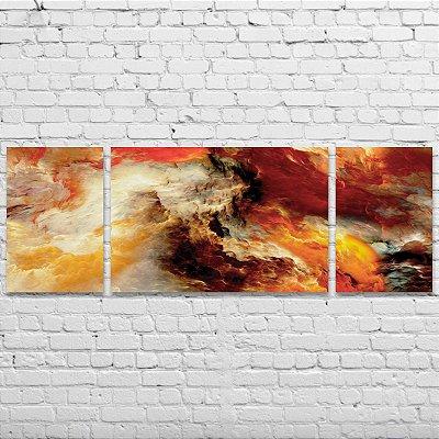 Quadro Decorativo Abstrato Cores Quentes 3 Telas Para Sala Quarto Escritório