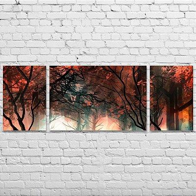 Quadro Decorativo Abstrato Árvores em Vermelho 3 Telas Para Sala Quarto Escritório