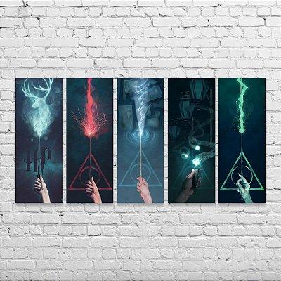 Kit de Quadros Harry Potter Varinhas Desiluminador 5 peças