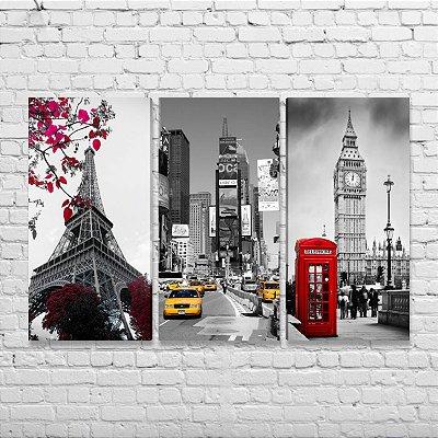 Quadros Paris Nova York Londres 02 - Kit 3 Quadros