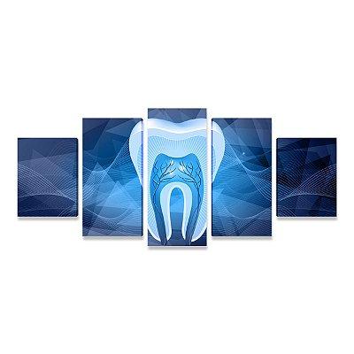 Quadro Consultório Odontológico Odontologia Dente Estilizado Azul