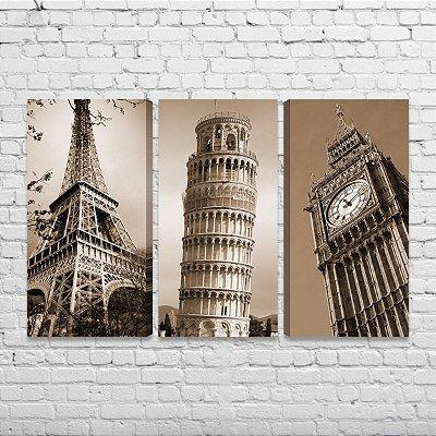 Kit 3 Quadros Paris Itália Londres Torre Eiffel Pisa Big Ben