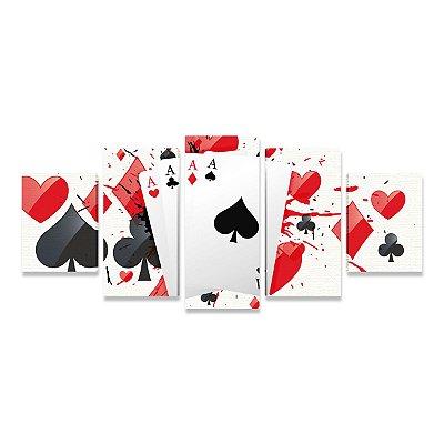 Quadro Poker Quadra de Ases Elementos Mosaico 5 Telas