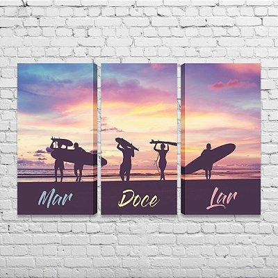 Quadro Surf Frase Mar Doce Lar Mosaico 3 Telas