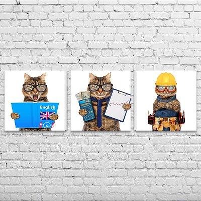 Quadro Gatos Divertidos Profissões Kit 3 Telas