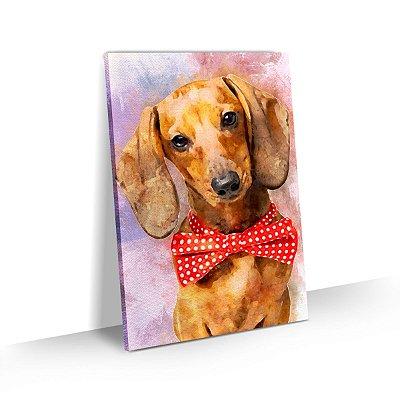 Quadro de Cachorro Basset Colorido Arte Aquarela