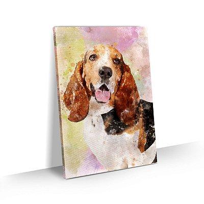 Quadro de Cachorro Basset Hound Colorido Arte Aquarela