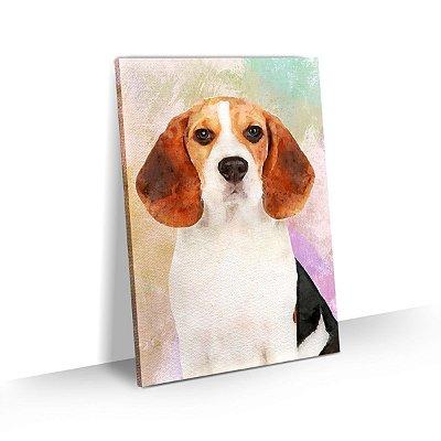 Quadro de Cachorro Beagle Colorido Arte Aquarela