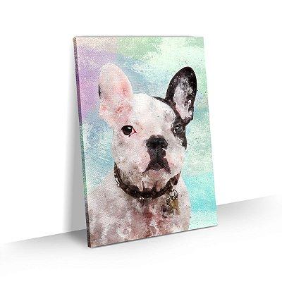 Quadro de Cachorro Bulldog Francês Pirata Colorido Arte Aquarela