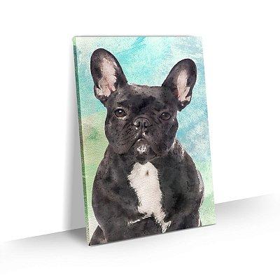 Quadro de Cachorro Bulldog Francês Preto Colorido Arte Aquarela