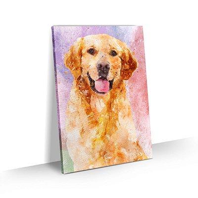 Quadro de Cachorro Labrador Colorido Arte Aquarela