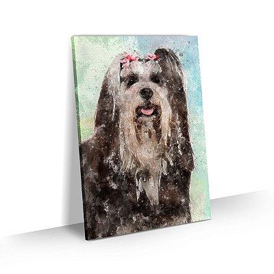 Quadro de Cachorro Lhasa Apso Colorido Arte Aquarela