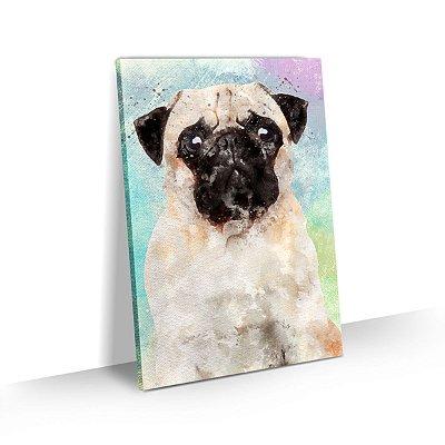 Quadro de Cachorro Pug Colorido Arte Aquarela