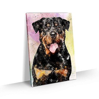 Quadro de Cachorro Rottweiler Colorido Arte Aquarela