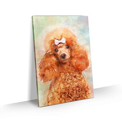Quadro de Cachorro Poodle Colorido Arte Aquarela