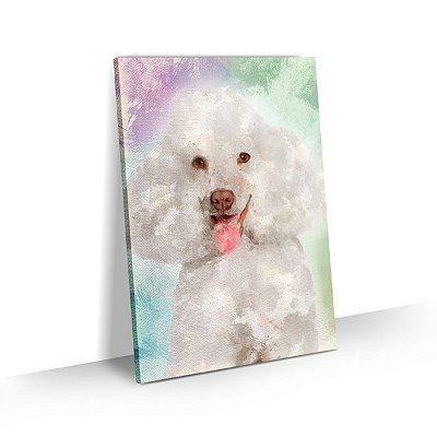 Quadro de Cachorro Poodle Branco Colorido Arte Aquarela