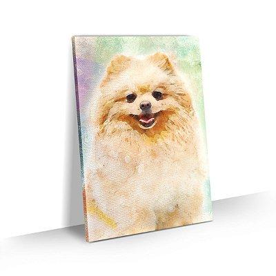 Quadro de Cachorro Lulu da Pomerânia Spitz Alemão Colorido Arte Aquarela