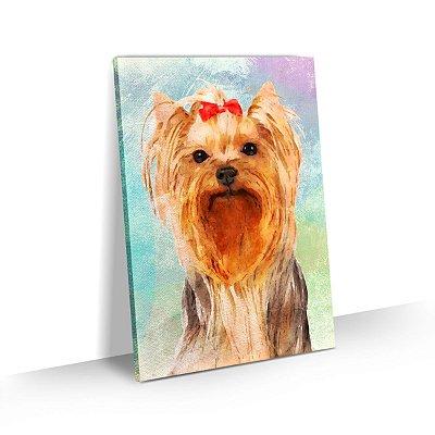 Quadro de Cachorro Yorkshire Colorido Arte Aquarela
