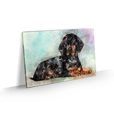 Quadro de Cachorro Basset Preto Colorido Arte Aquarela